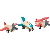 Small Foot - 3 'pull back' vliegtuigjes van hout