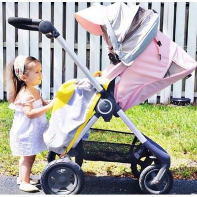 Ettel Bettel Stroller Blanket - White Triangle - Roze