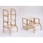 Ette Tete - Learning Tower / Leertoren Step'n Sit - Inklapbaar tot tafel en stoel - Naturel