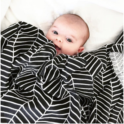 Lulujo Swaddle Black Herringbone
