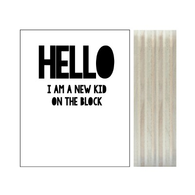 "Dots lifestyle - Polaroid on wood ""Hello! New kid on the block"""