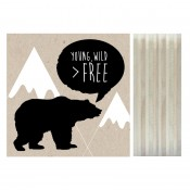 "Dots lifestyle - Print on wood ""Young, Wild, Free"""
